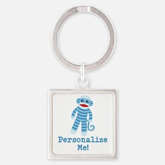 Baby Blue Sock Monkey Square Keychain