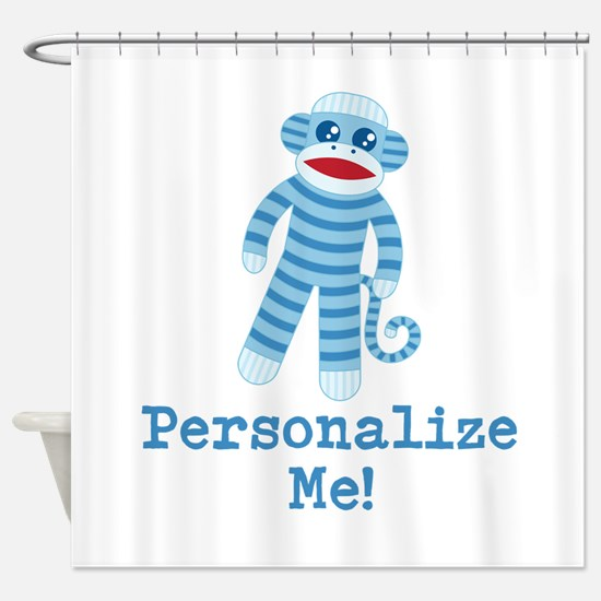 Baby Blue Sock Monkey Shower Curtain