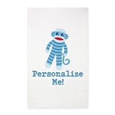 Baby Blue Sock Monkey 3'x5' Area Rug