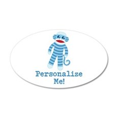 Baby Blue Sock Monkey Wall Decal