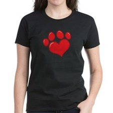 pet paw heart Tee