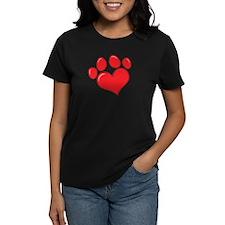 Pet Paw Heart Women's Dark T-Shirt