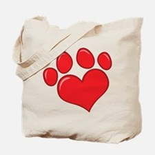 pet paw heart Tote Bag