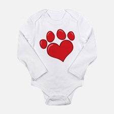 pet paw heart Long Sleeve Infant Bodysuit