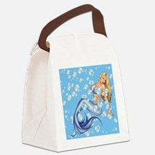 Mermaid and Bubbles Canvas Lunch Bag