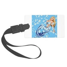 Mermaid and Bubbles Luggage Tag