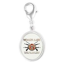 Molon Labe - Spartan Shield Silver Oval Charm