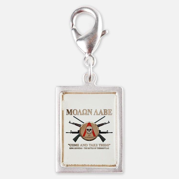 Molon Labe - Spartan Shield Silver Portrait Charm
