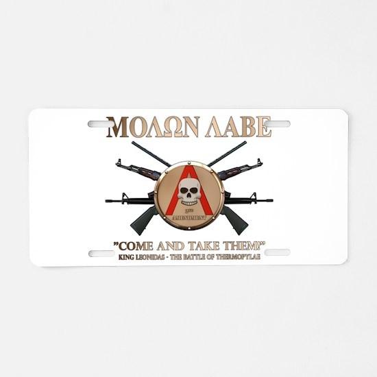 Molon Labe - Spartan Shield Aluminum License Plate