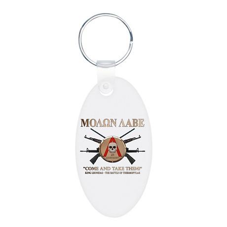 Molon Labe - Spartan Shield Aluminum Oval Keychain