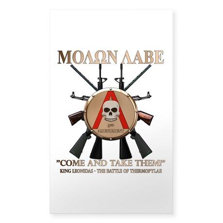 Molon Labe - Spartan Shield Sticker (Rectangle)