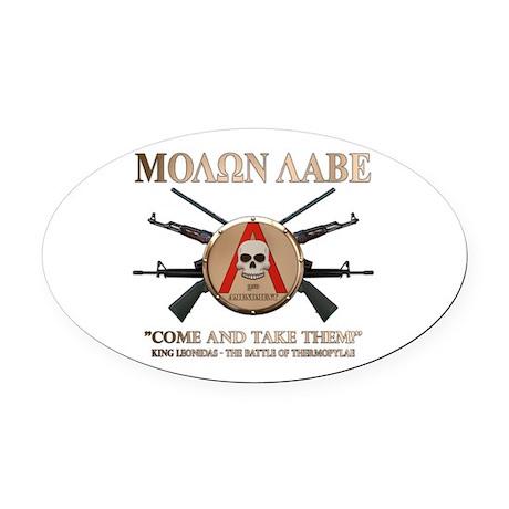 Molon Labe - Spartan Shield Oval Car Magnet