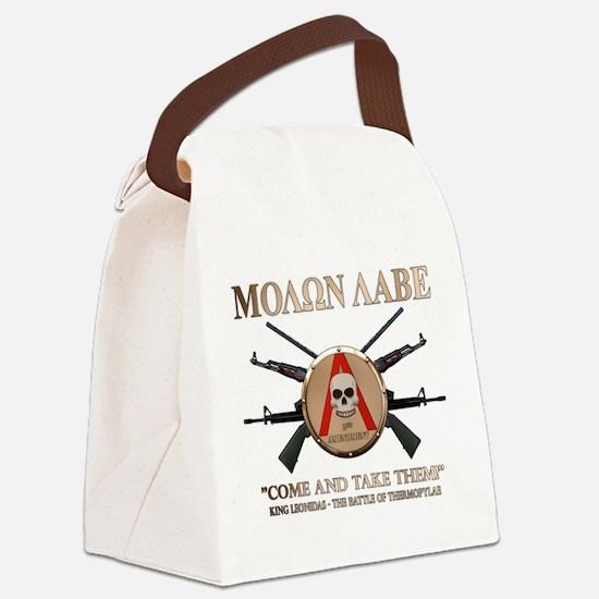 Molon Labe - Spartan Shield Canvas Lunch Bag