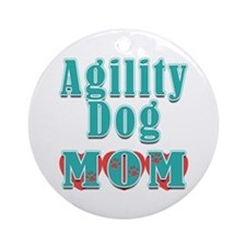 Agility Dog Mom Hearts Ornament (Round)