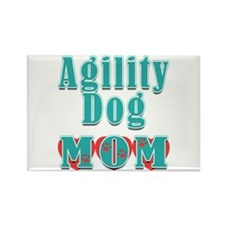 Agility Dog Mom Hearts Rectangle Magnet