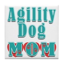 Agility Dog Mom Hearts Tile Coaster