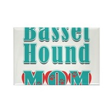 Basset Hound Mom Hearts Rectangle Magnet