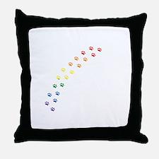 Rainbow Paws Throw Pillow