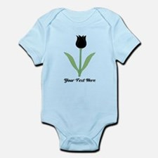 Black Tulip with Black Text. Infant Bodysuit
