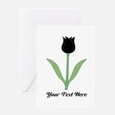 Black Tulip with Black Text. Greeting Card