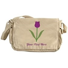 Purple Tulip with Custom Text. Messenger Bag