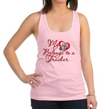 My Heart Belongs to a Trucker Racerback Tank Top