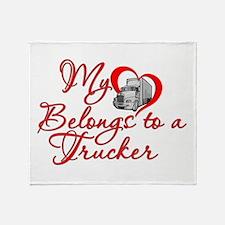 My Heart Belongs to a Trucker Throw Blanket