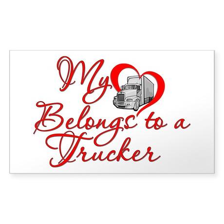My Heart Belongs to a Trucker Sticker (Rectangle)