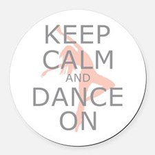 Modern Keep Calm and Dance On Round Car Magnet