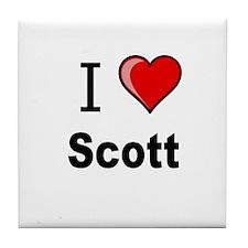 i love Scott heart tee Tile Coaster