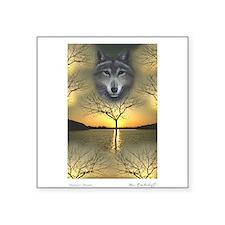 Wolf - 'Shaman's Dream' Rectangle Sticker