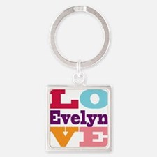 I Love Evelyn Square Keychain