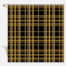 Stitched Yellow Argyle Shower Curtain