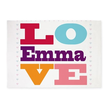 I Love Emma 5'x7'Area Rug