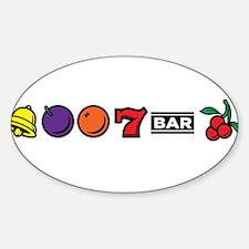 Vegas Slot Machine Sticker (Oval)