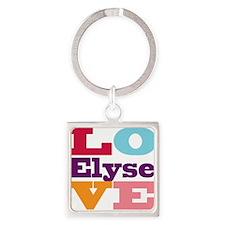 I Love Elyse Square Keychain