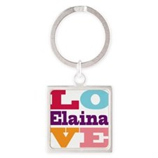 I Love Elaina Square Keychain