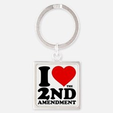 I Heart the 2nd Amendment Square Keychain