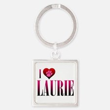 I Heart Laurie Square Keychain