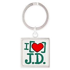 I Heart J.D. Square Keychain