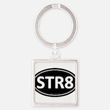 STR8 Black Euro Oval Square Keychain