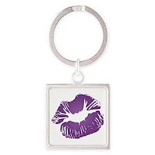 Big Purple Lips Square Keychain