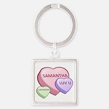 Samantha Candy Hearts Square Keychain