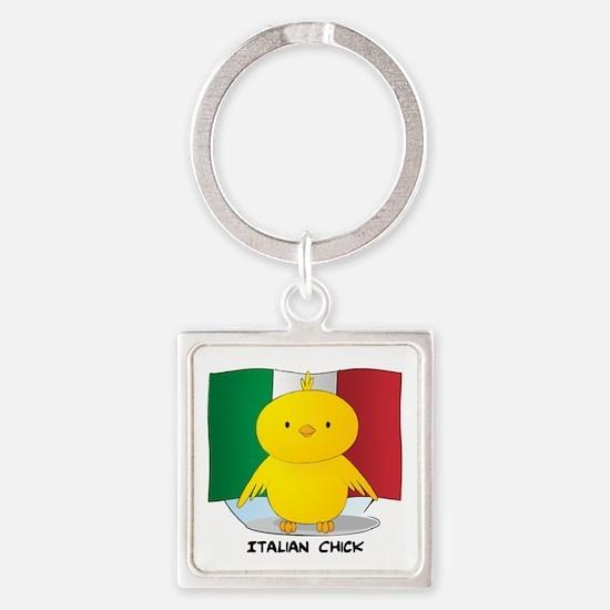 Italian Chick Square Keychain
