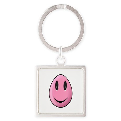 Pink Easter Egg Square Keychain
