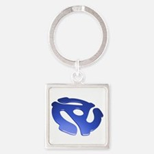 Blue 3D 45 RPM Adapter Square Keychain