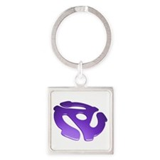 Purple 3D 45 RPM Adapter Square Keychain