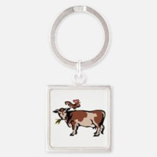 Brown Chicken Brown Cow Square Keychain