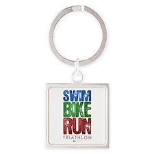 Swim, Bike, Run - Triathlon Square Keychain