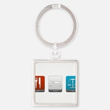 Eat, Sleep, Law Square Keychain